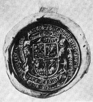 Danmarks Riksvapen 1450 I underdelen på det nedre fältet till vänster finns 9 hjärtan som symboliserar Halland under ett gående lejon.