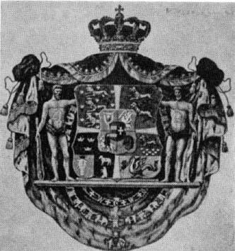 Danmarks Riksvapen 1819 Här finns halländska hjärtan nere till höger ovanför en drake och under ett lejon