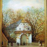 En målning av Norre Port i Halmstad